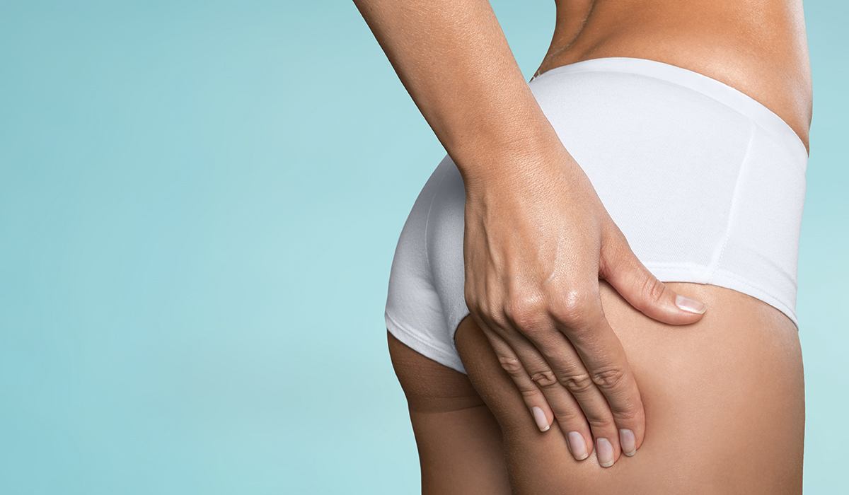 Woman showing absence of cellulite